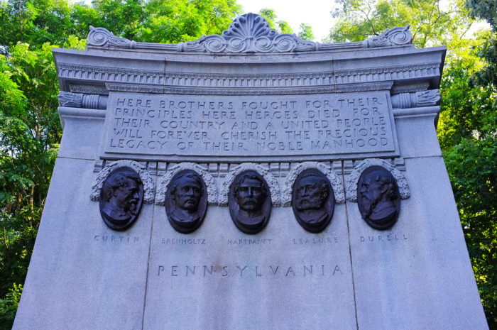 The monument contains five bronze medallions, which feature the faces of the Pennsylvanian commanders. According to several reports, the faces appear, at times, to be crying tears of blood.