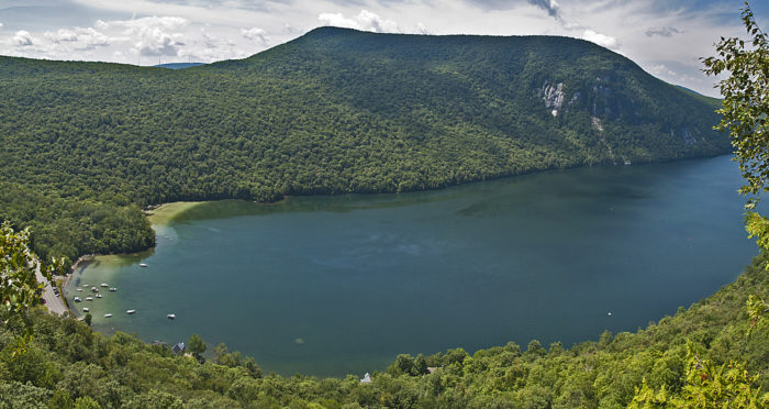 Panorama of Mt. Hor and the south end of Lake Willoughby from Pulpit Rock.