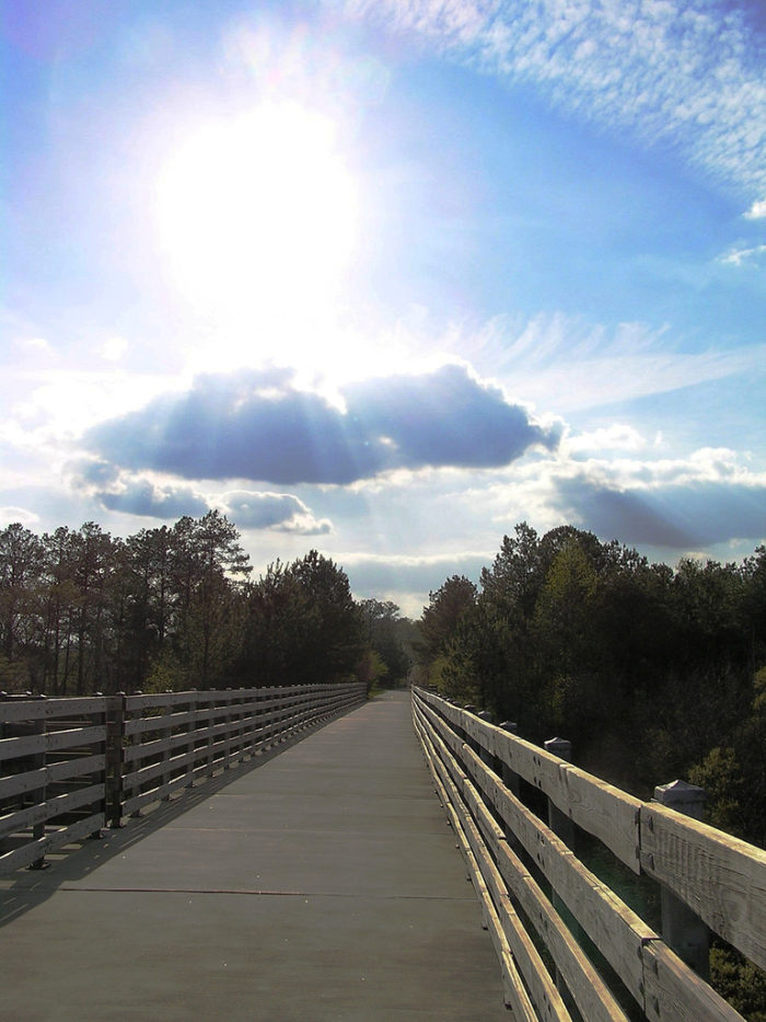 There is no fee to use the trail which is recognized as a National Recreation Trail by the National Park Service.