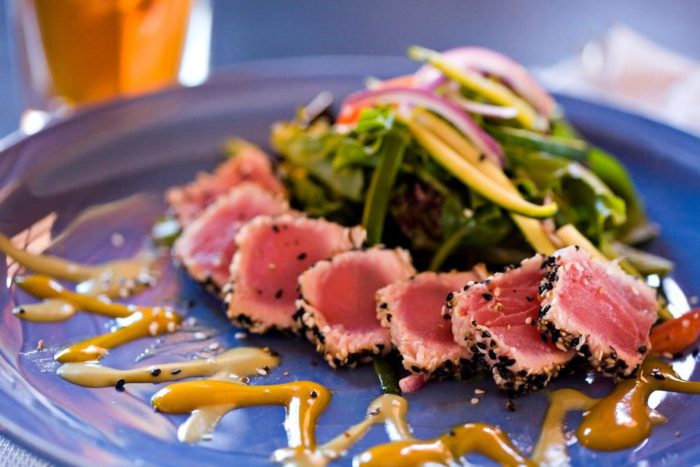 Plus some scrumptious dinners served with an elegance that may surprise you., like this seared ahi plate.