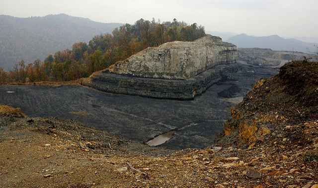 Miners once worked underground in the mountain to retrieve the coal, but now the entire mountain is being scooped away.