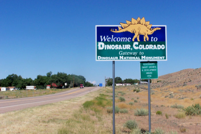 Located in the very northwest corner of the state, Dinosaur is a small statutory town of 339 that is known to turn heads because of its unusual name.