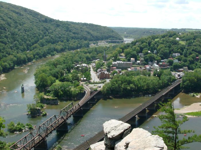 When you finally reach the overlook, you're greeted with miraculous views of Harpers Ferry, West Virginia.
