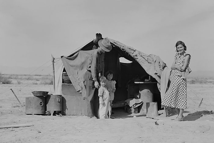 5. Photograph captured by Dorothea Lange at a relief camp in Imperial County in 1929.