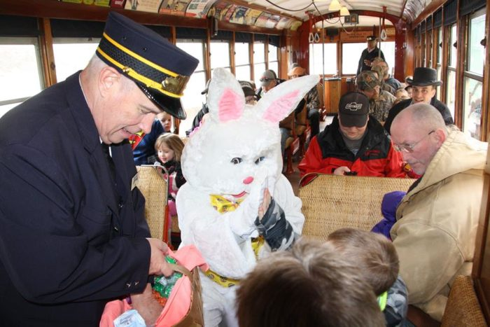 The Easter Bunny joins trolley riders for a day of fun that includes balloon art and face painting, building excitement for the official start of the 2017 trolley season at the end of May.
