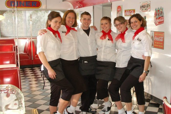 A waiter or a waitress dressed in traditional 50s attire will greet you as you browse the menu that features breakfast, lunch, dinner, and dessert dishes as well as a kid's menu.