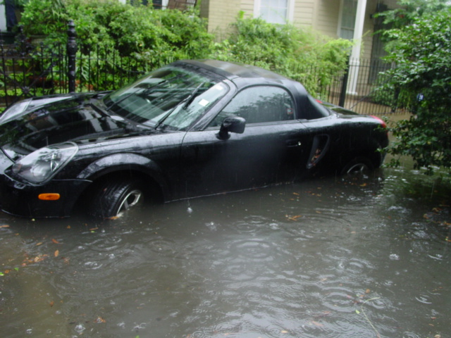 4) Seeing people paddle down the street during a heavy rainstorm.