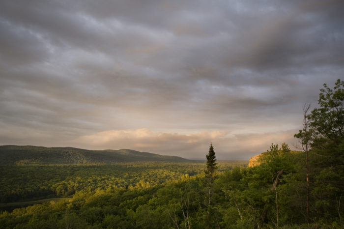 If you're lucky, you'll catch part of a magnificent sunset over the Porcupine Mountains — just an added charm for hikers on Escarpment Trail.