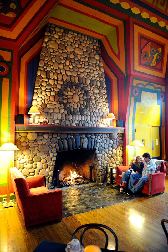 There is a stunning fireplace (the largest stone fireplace in the state) guests can warm up by on cold Superior days, and the dining room is extremely cozy.