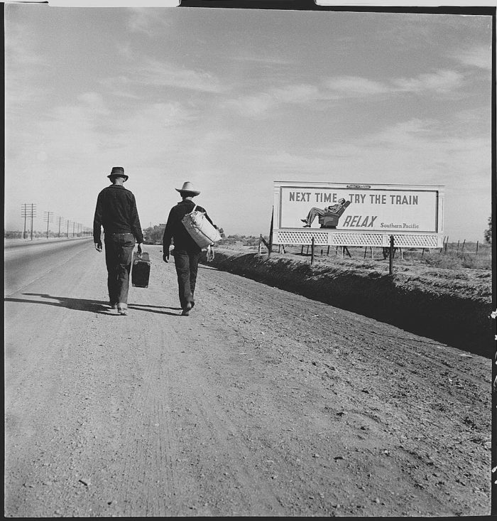 8. A long and dusty road on the way to Los Angeles in search of work in 1935.