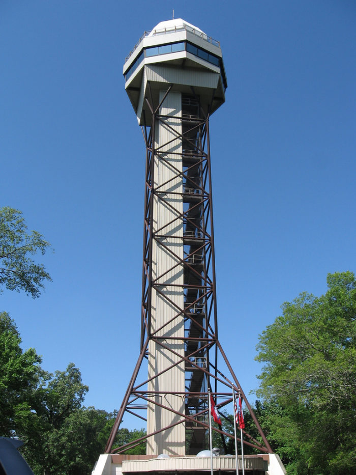 You can climb up the tower on Hot Springs Mountain . . .