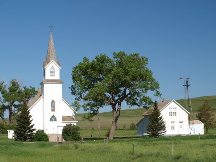 The last remaining structures are a beautiful Scandinavian Lutheran Church, which is still in use for people outside of the town, and its parsonage.