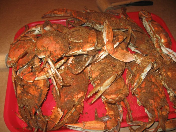 5. We sit for HOURS eating steamed blue crabs.