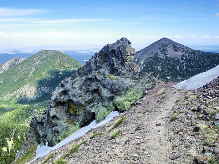 Starting at 10,600 feet above sea level, the alpine tundra begins just past the visible tree line on the mountain and extends all the way up to Humphrey's Peak at 12,633 feet.