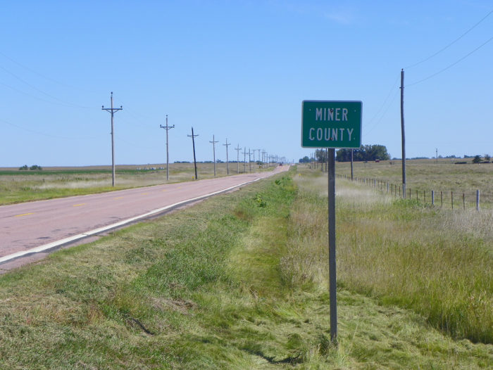 The road in question is located out in the middle of nowhere within Miner County, South Dakota.