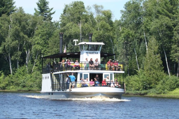 If you choose the day trip package from Soo Junction, you'll continue on to a tour aboard the Hiawatha riverboat, which will take you all the way to the breathtaking Tahquamenon Falls.