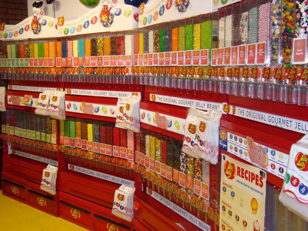 There are walls absolutely packed with candy from floor to ceiling.