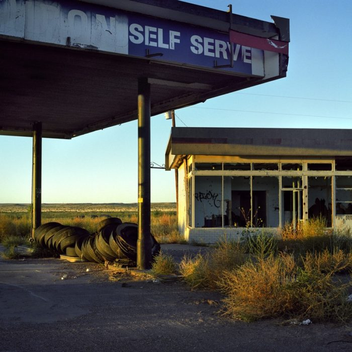 ...and an abandoned gas station that long ago stopped fueling any cars.