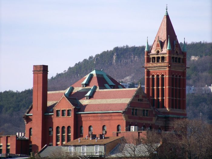 The Allegany County Courthouse was built in 1893 at a cost of $97,000. This castle-like building was designed in the Richardsonian Romanesque style.