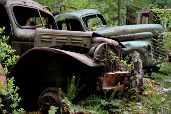 The town is full of rusting cars, decaying buildings, old mining equiptment, and more.