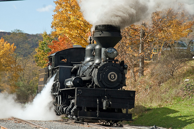 From there you'll board a train pulled by a historic steam engine.