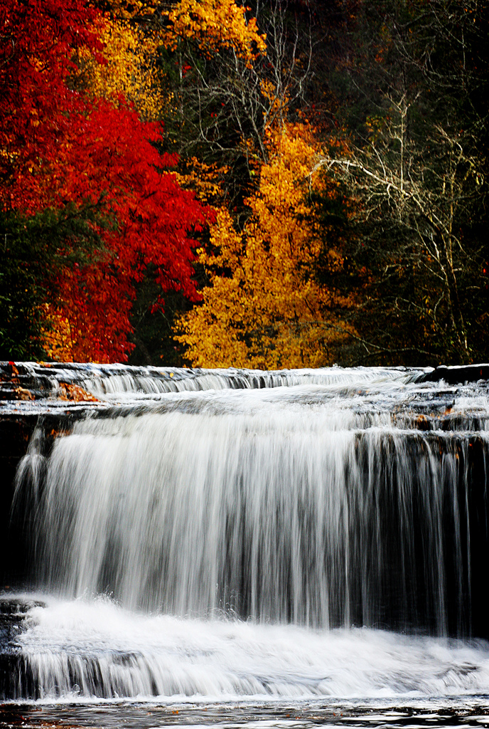 The mild and beautiful waterfall is a popular swimming hole in the summer and completely beautiful in the fall.