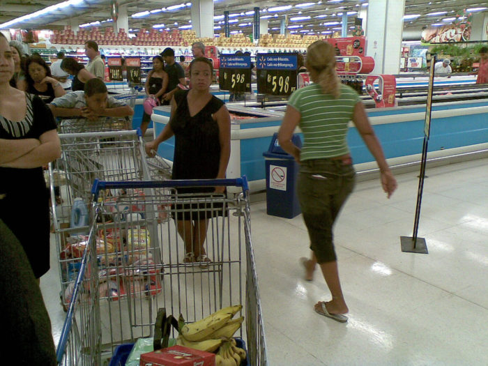 12. Cut line at the grocery store.