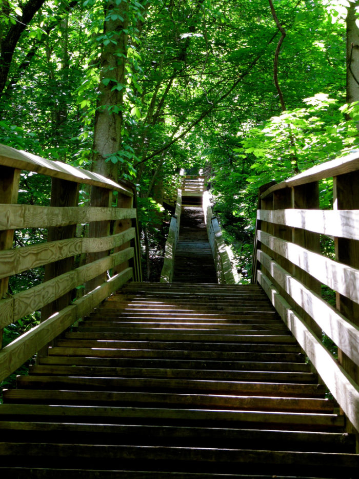 After a short but intense one mile hike, you'll find the remains of Kaymoor down a long staircase.
