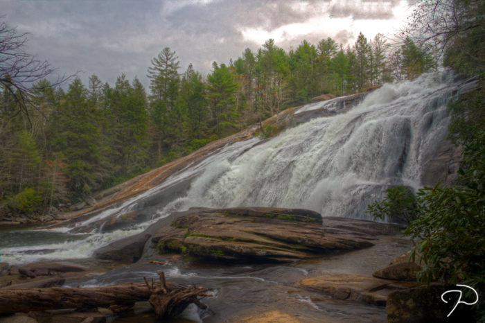 From the Triple Falls Picnic Shelter, take a the 2.0-mile High Falls Trail.