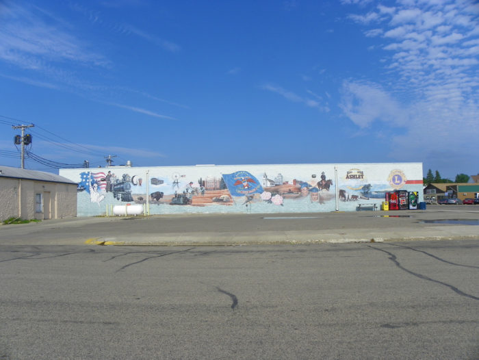 This mural was created for the centennial of the town.