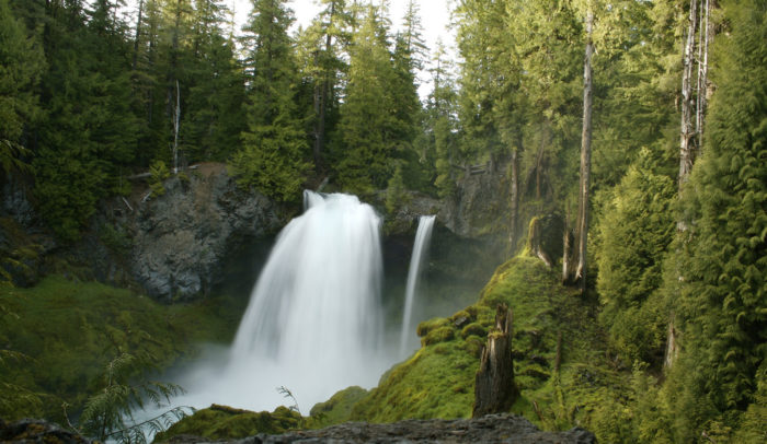 This easy, gorgeous trail begins at the lovely Sahalie Falls, which is just a short walk from the parking area.