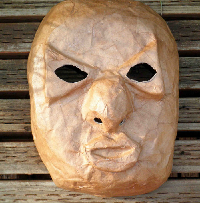 The mask looked something like this. Creepy, right? The guest thought so, too, but she managed to shrug it off and try to get some sleep.