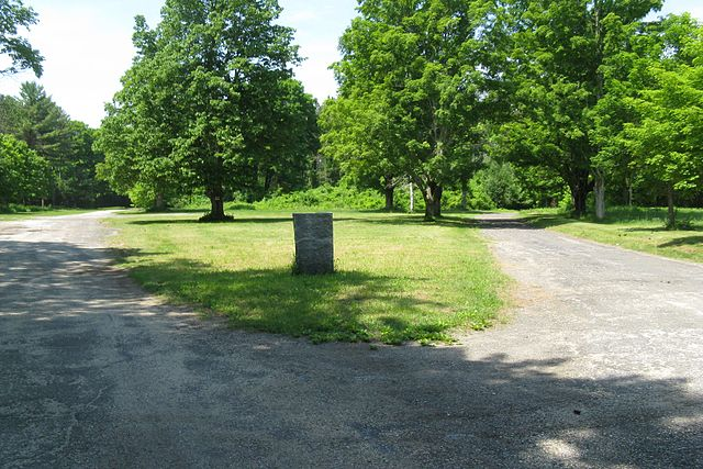 The Dana town common features a stone marker that commemorates the loss of the town.