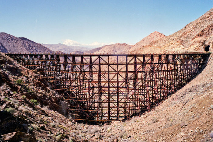 The bridge is made of redwood beams, and is over 600 feet long and 186 feet high.
