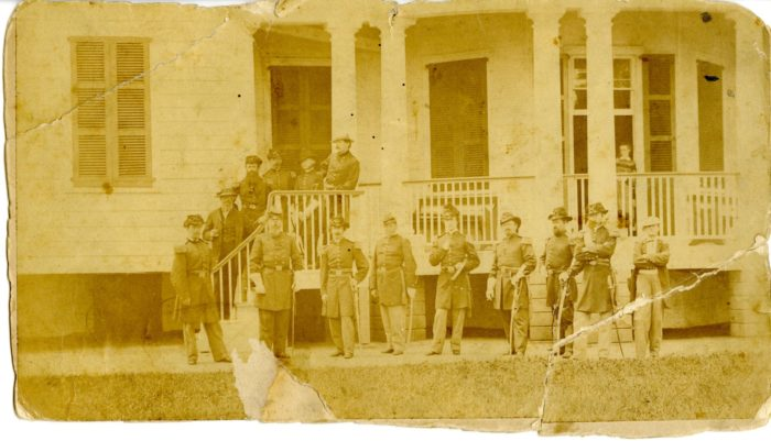 This photograph from 1863 shows soldiers at the height of Fort Delaware Prison activity.