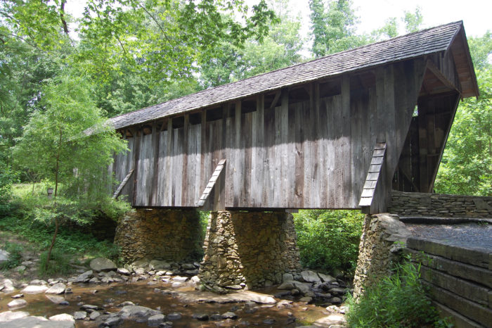Pisgah Covered Bridge In North Carolina Is Surrounded By