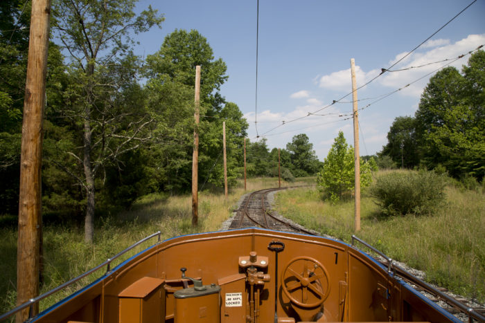 This allows you to feel the breeze as you wind through the wooded area of the tracks.