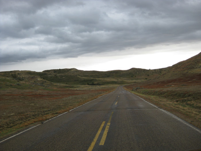 11. A scenic drive through western North Dakota on this empty road