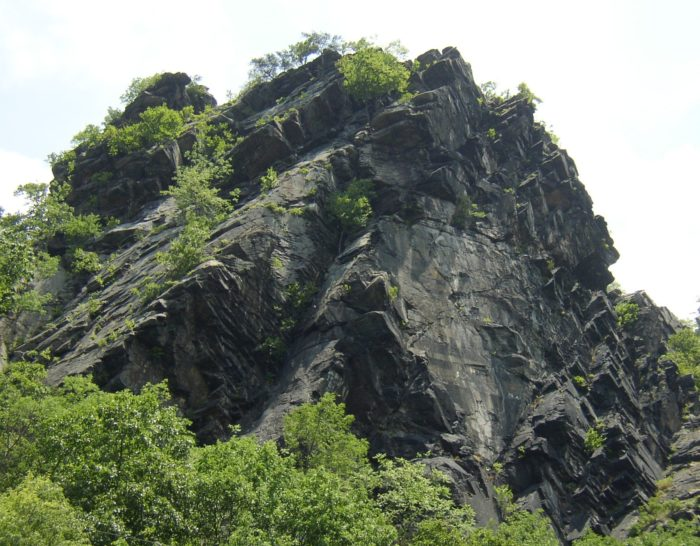 Located on the Maryand border, you'll spot the impressive Maryland Heights rock formation.