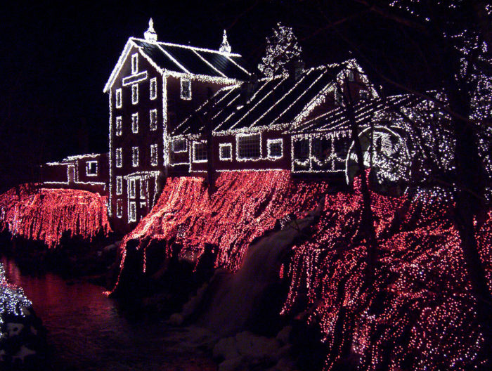 During the holiday season, Clifton Mill is decked out with thousands of lights.