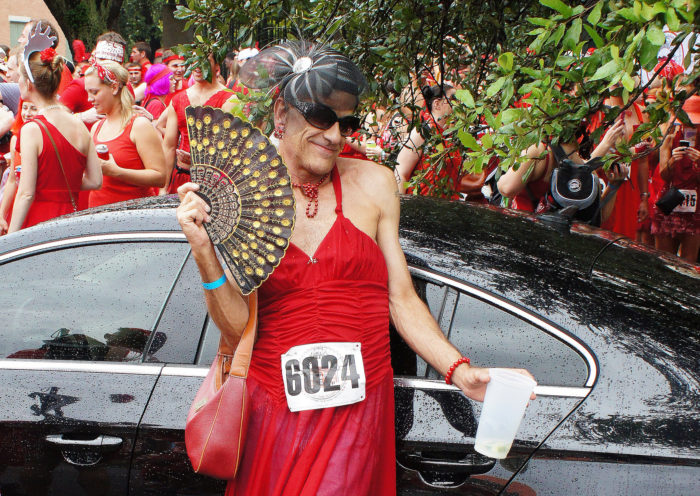 6) Having your car stopped because of a parade of men wearing red dresses.