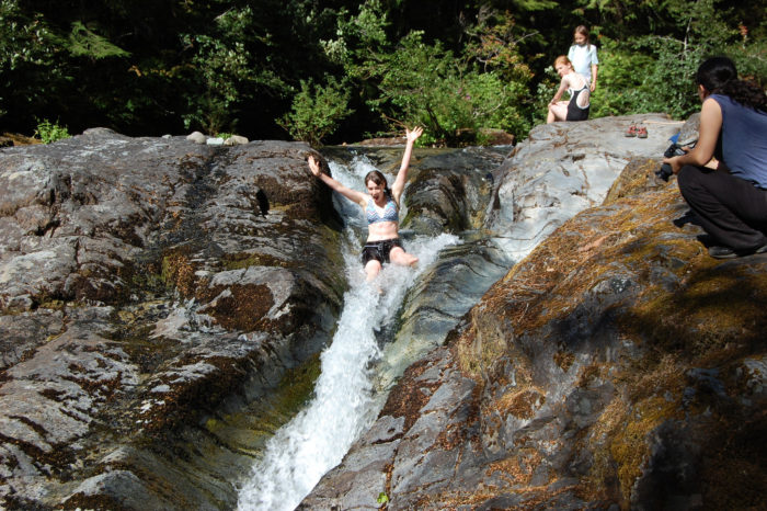 On a warm day, be sure to stop at the legendary Slide Falls - a natural waterslide that lands in a gorgeous swimming hole.