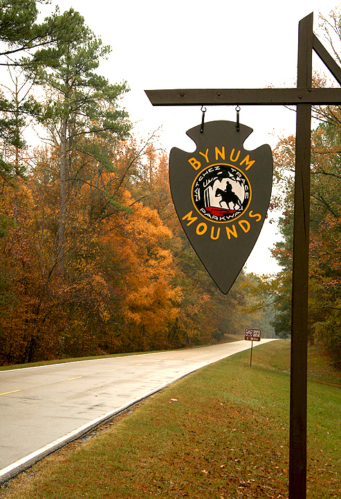 The Bynum Mounds are located at milepost 232.4, and are one of the last sites in the state's section of the Trace. Featuring interpretive exhibits, visitors are educated on the early residents of the area.