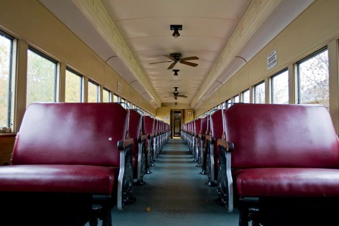 Find the perfect seat aboard your designated train. First class seats are already sold out for this year's Fall Foliage Trips but you'll discover the coach seats are a comfortable alternative. (Photo of the coach section below.)