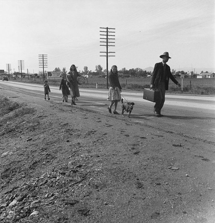2. A homeless family making their way toward San Diego on foot in order to find work and shelter. Photo captured in 1939.