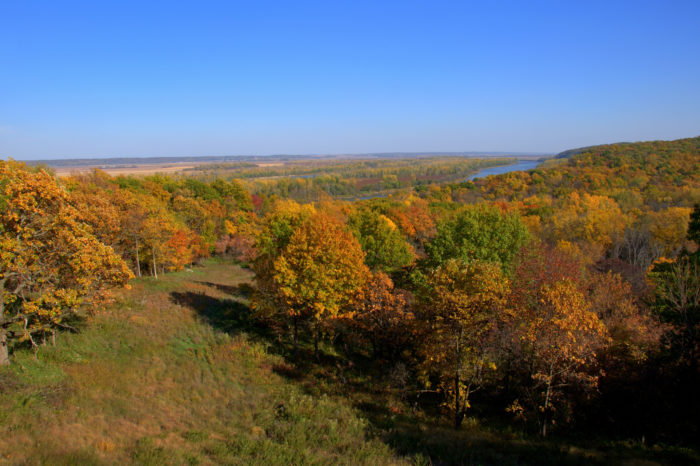 The terminus of the journey is in Brownville, an adorable little town tucked quietly away in the Missouri River Valley in southeastern Nebraska. Just a short drive south of Brownville is Indian Cave State Park, which offers some of the finest foliage viewing in the state.
