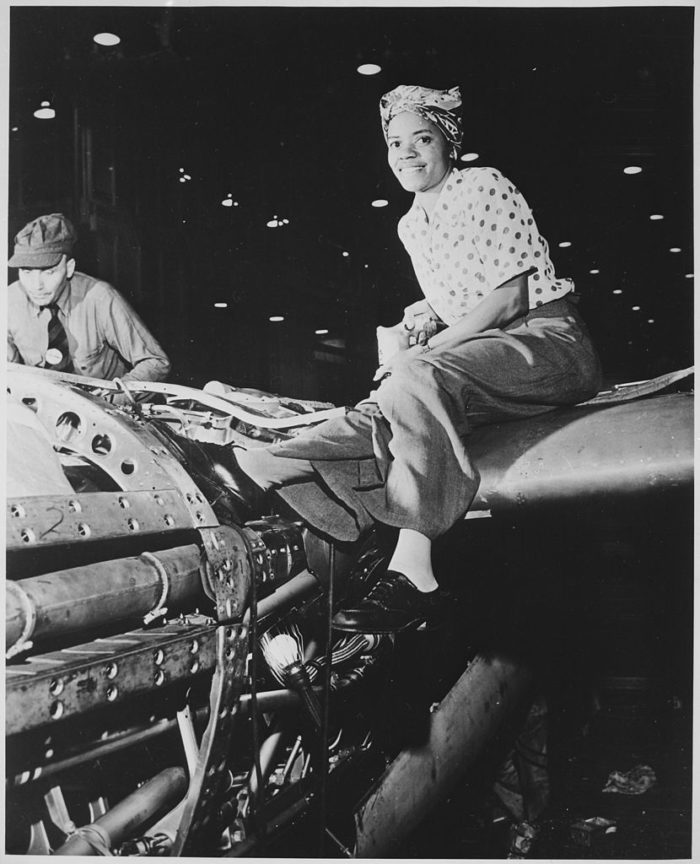 1. A riveter pictured here in Burbank at the Lockheed aircraft plant.
