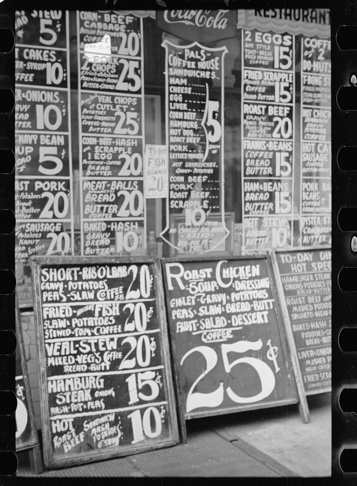 6. A Baltimore restaurant street sign in 1939. Check out those prices.