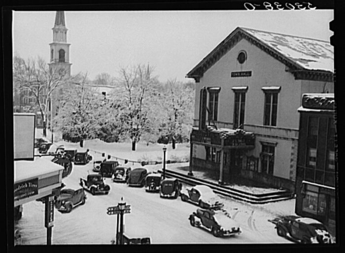 25.  Corner of Main Street, center of town after a blizzard in Brattleboro.
