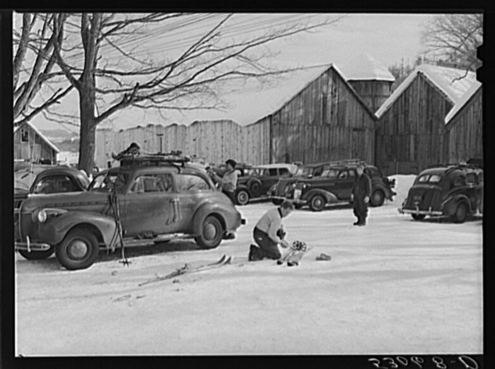 26.  Every available space for parking is used by skiers on weekends at Clinton Gilbert's farm in Woodstock.